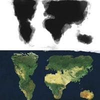 Merged image of 30 people trying to draw the world by memory
