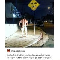 Terminator in the streets at night