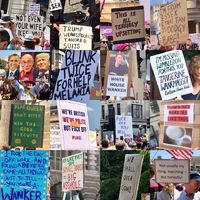 """""""What are brits like?"""" (Signs at the anti-Trump protests in London)"""