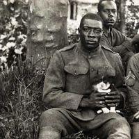 1918 --american black soldier& his puppy