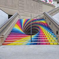 Tunnel art on stairs, SLC, UT