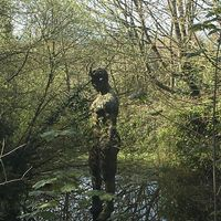 A statue of lucifer at the devils hole in jersey