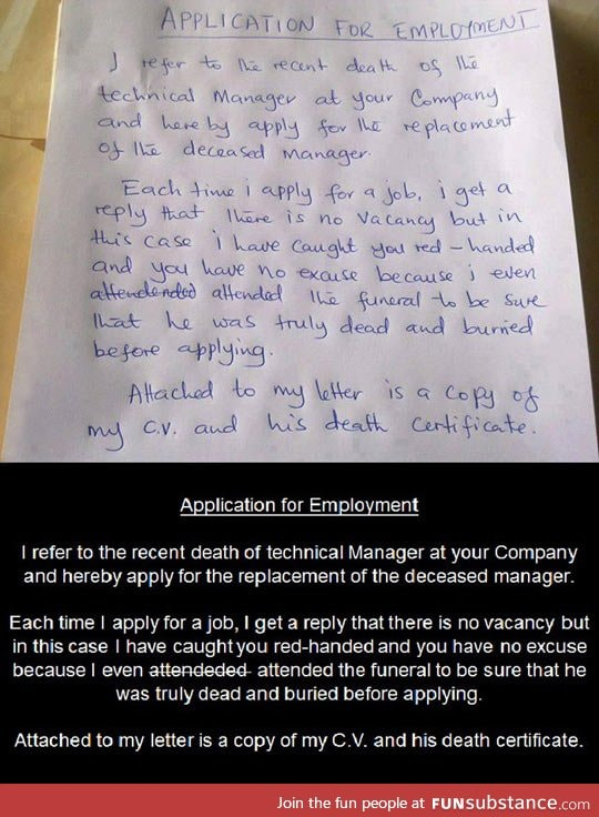 best application letter for employment