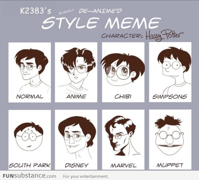 Funniest Meme Characters : Harry potter in different cartoon styles funsubstance