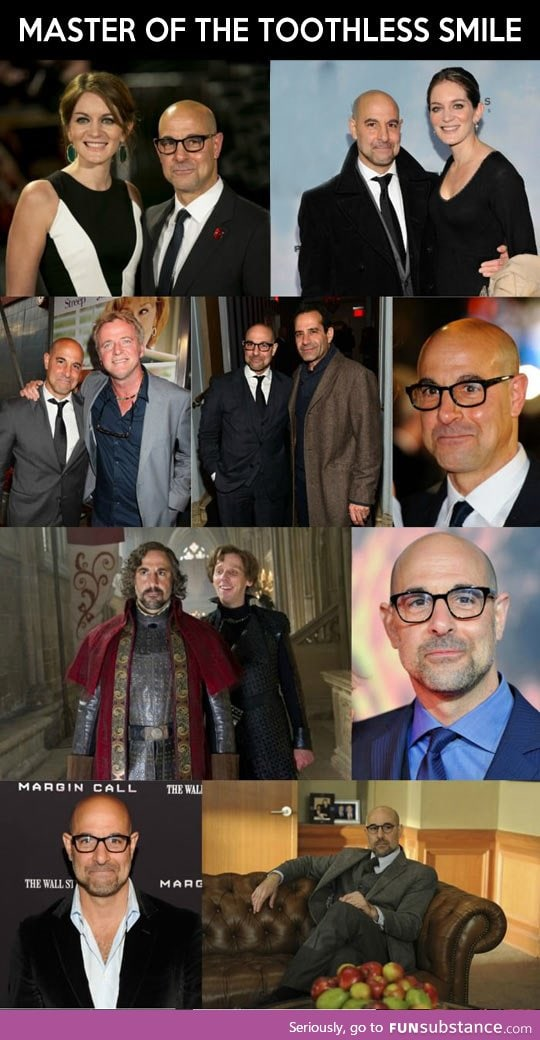 What does Stanley Tucci hide in his mouth?
