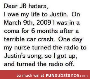 to all JB haters