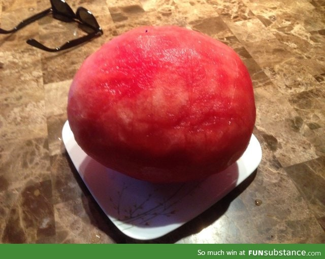A perfectly peeled watermelon
