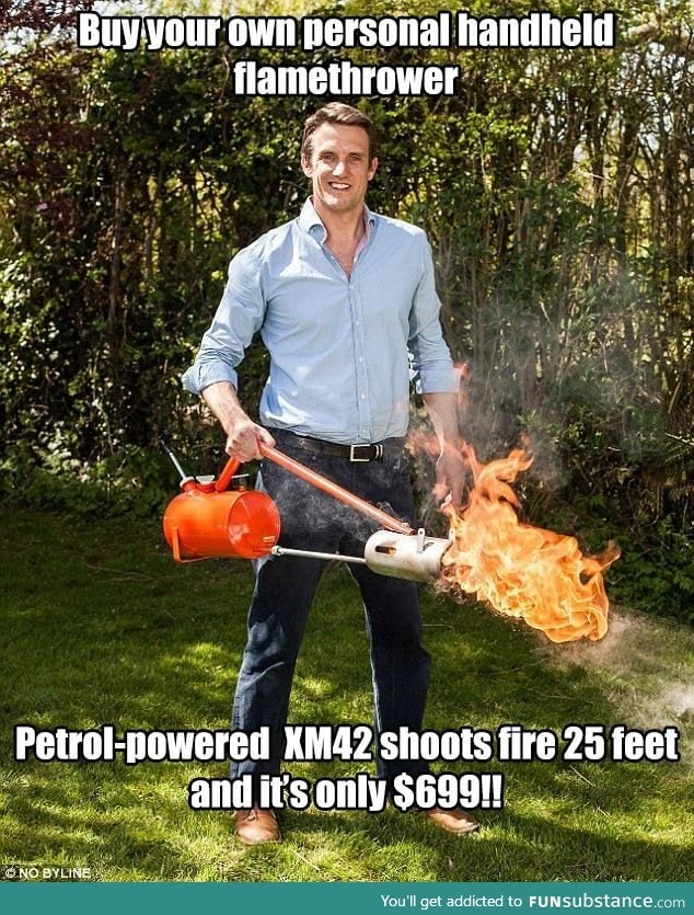 In the US the flamethrowers are now being marketed not as weapons, but as fun devices