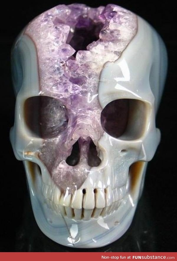 Skull carved from a geode funsubstance