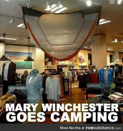 """Hey Mary, you mind getting that camp fire going?"""