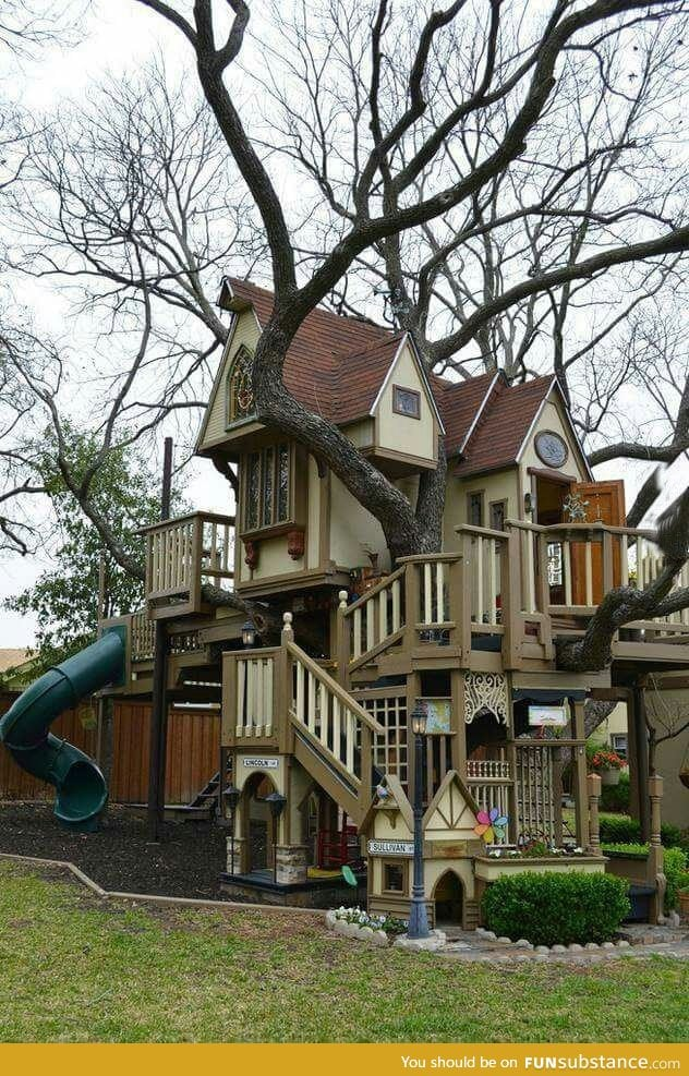 Describe this backyard treehouse in one word - FunSubstance