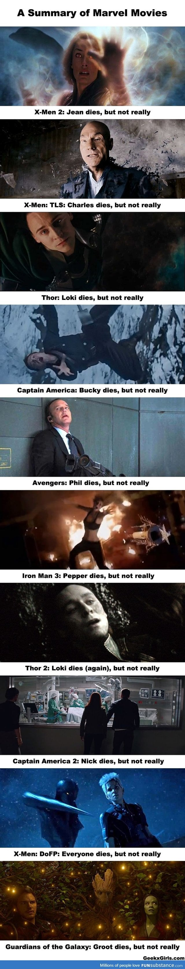 In Marvel movies, people die, but not really