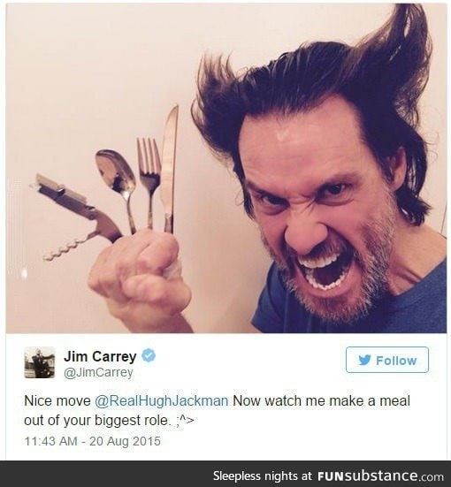 Jim Carrey posted this on his twitter. He's Wolverine!