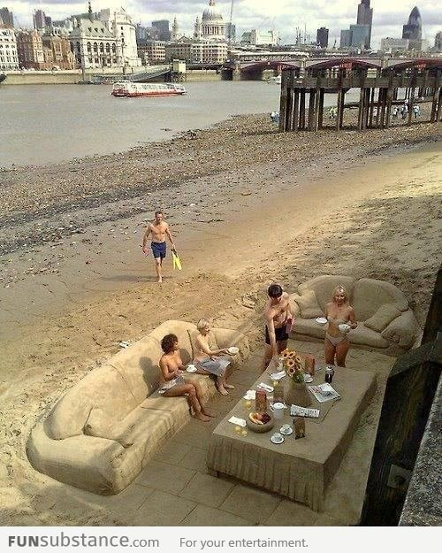 Just having breakfast on the beach