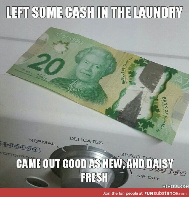 Just another perk of being a Canadian: Water-proof cash