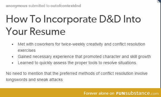 how to incorporate d d into your resume funsubstance