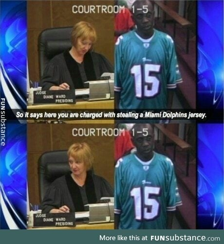 Bad idea to wear a jersey to court. Worse idea to wear a stolen jersey to court.