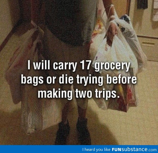 Carrying groceries