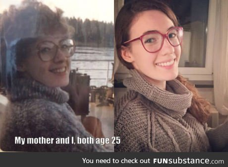 Girl and her mother 25 years apart