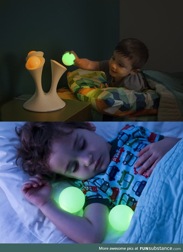 Portable glow in the dark ball lamp