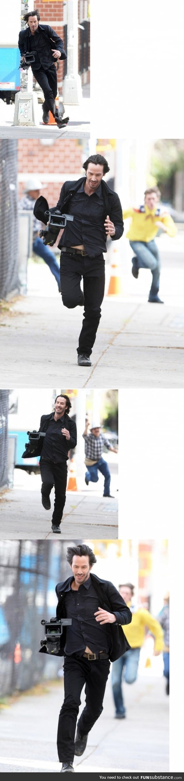 Keanu Reeves just casually running with paparazzi's camera