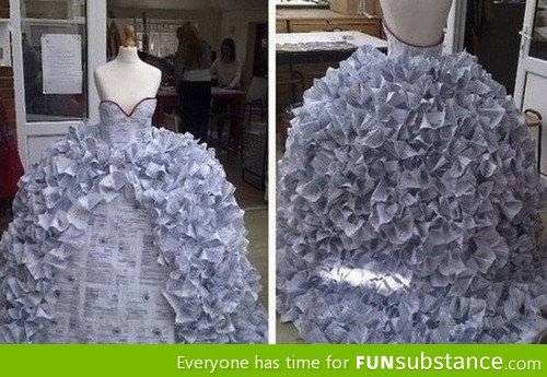 Dress made of divorce forms