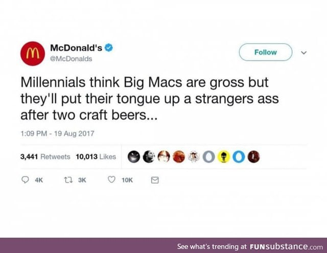 Yeah because we need beer to do that.. McDonald's at it again