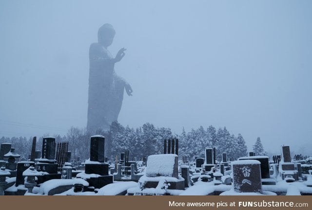 Ushiku Daibutsu in Japan, one of the tallest statues in the world, as seen in this winter
