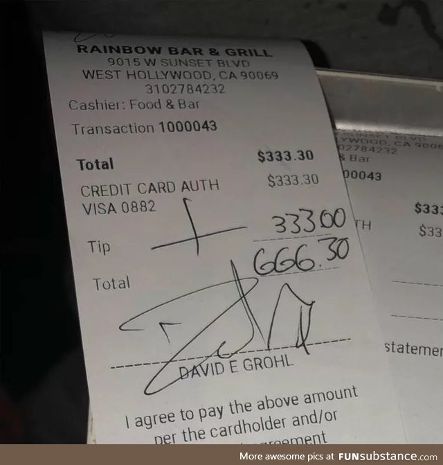 Dave Grohl is an amazing tipper with a good sense of humor