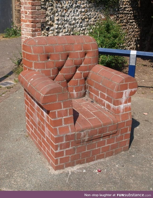 Sofa made out of bricks