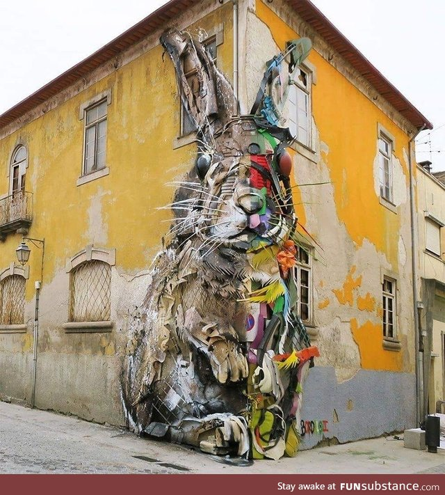 Street art : Half rabbit