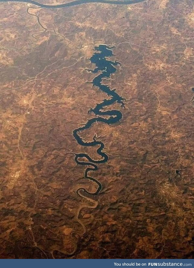 A less saturated view of the Odeleite, or Blue Dragon River, Portugal