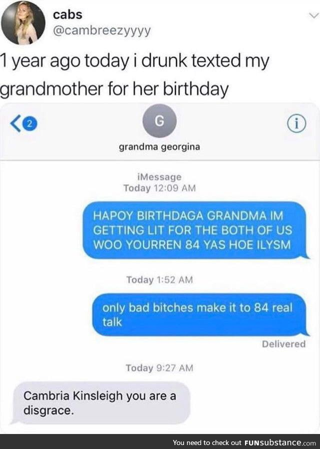 Drunk text to grandmother
