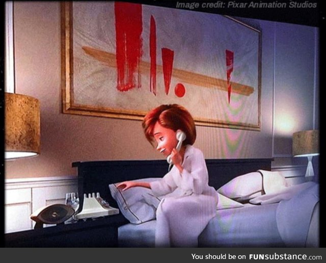 In the movie Incredibles 2, The abstract painting in Helen's hotel room is an