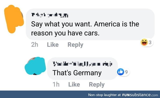 America is the reason you have cars. Nope