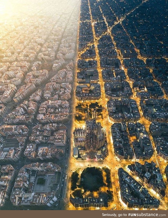 Day to Night in Barcelona
