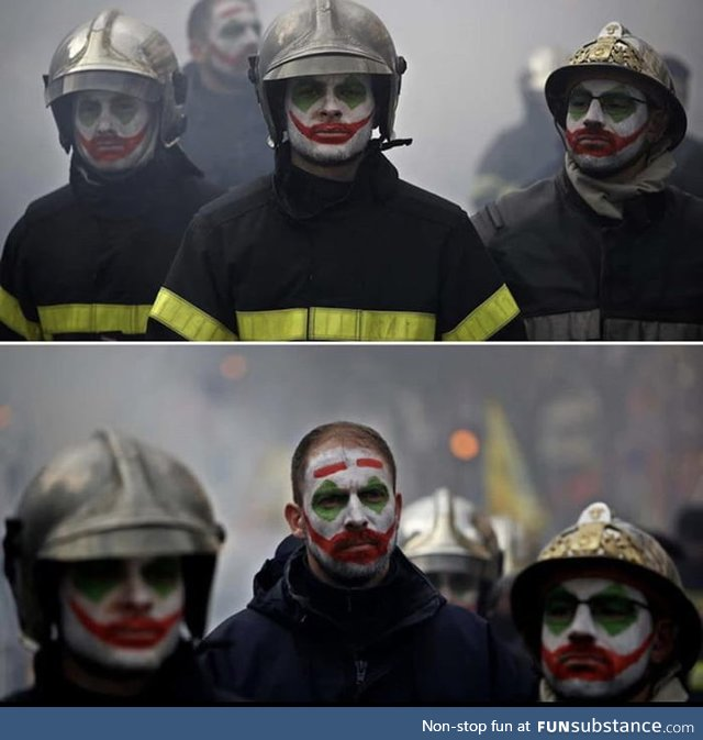French Firefighters in the streets of Paris protesting against the government's