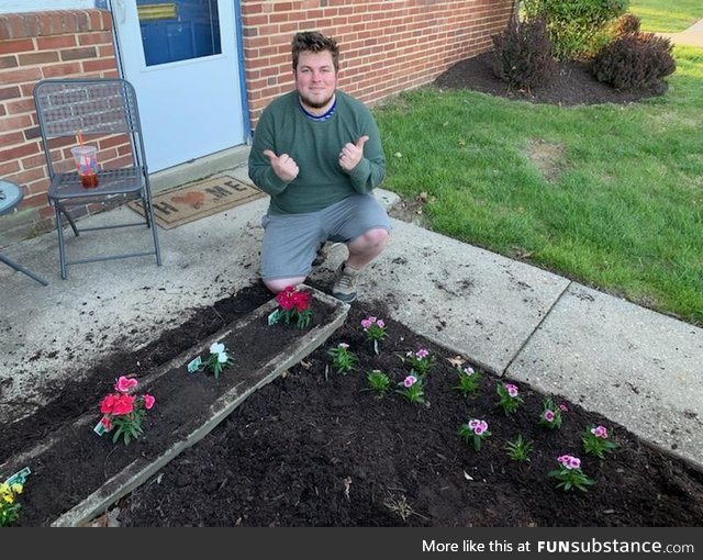 Celebrated my 25th birthday in quarantine planting flowers outside my apartment