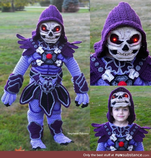 I crochet my son full body costumes, he picked Skeletor@! (Freehand/no pattern)