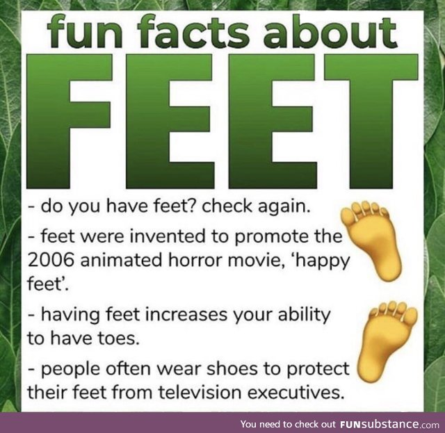Facts About Feet: there is a direct link between feet existing, and spam on the internet