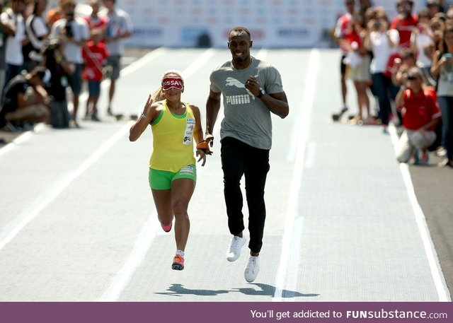 Usain Bolt runs as a guide for blind Paralympic champion Terezinha Guilhermina in Rio