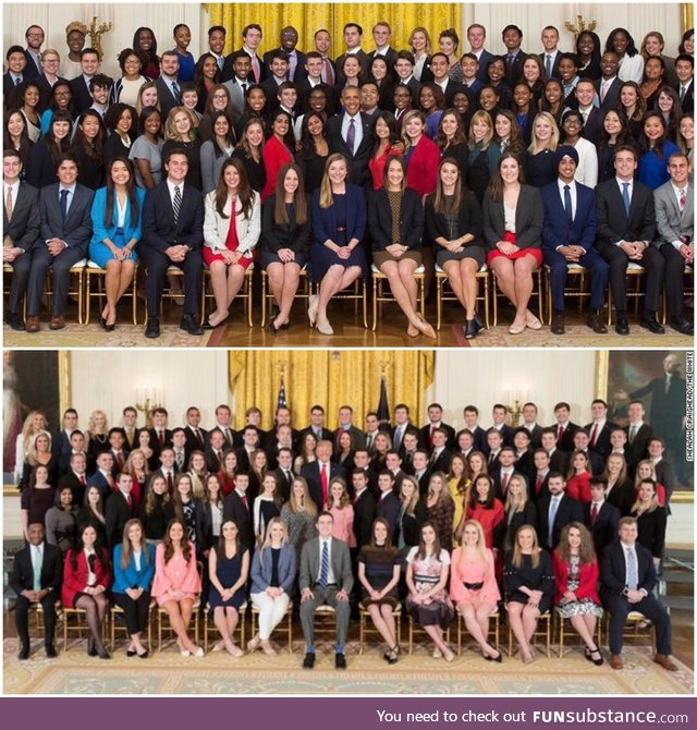 Diversity of the White House interns in the previous administration vs the current one