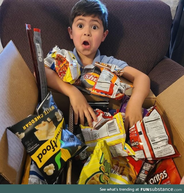 My son made a wishlist on Amazon, and my mom bought him everything on it without telling
