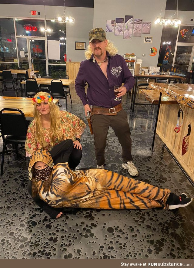 I was working in my tiger onesie on Halloween when customers came in as Joe Exotic and
