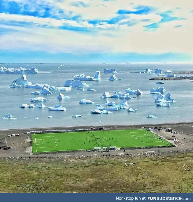 Soccer pitch in Greenland