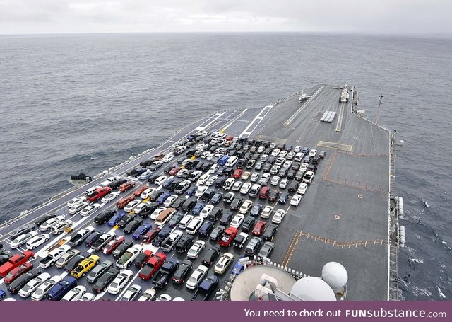 Sailors' Cars parked on the USS Ronald Reagan while it changes home ports in 2012