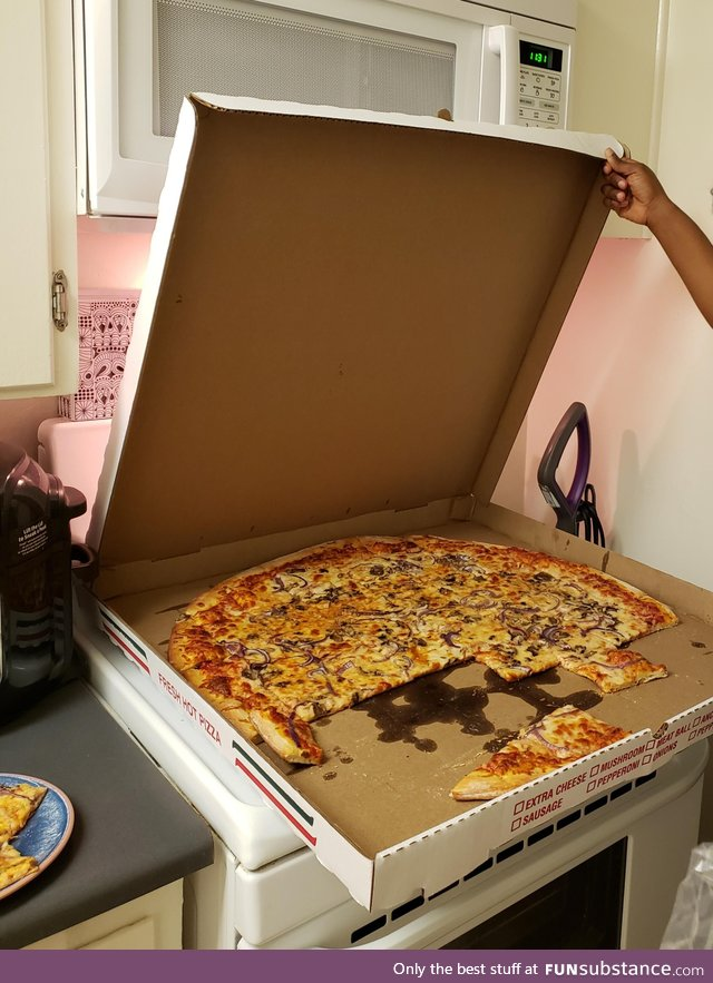 "My wife isn't great at measurements and ordered a 28"" pizza for the two of us"
