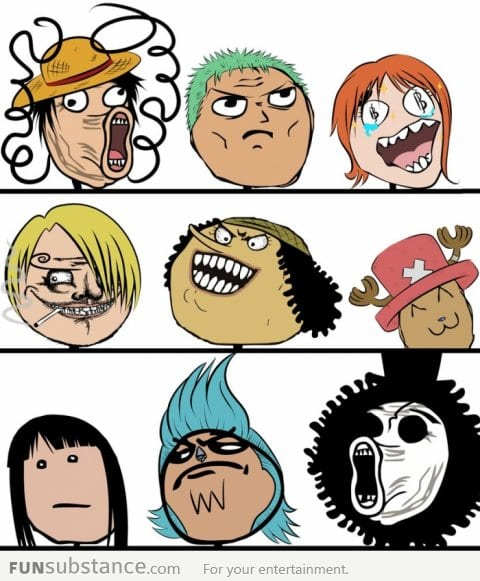 Rage faces as One Piece characters