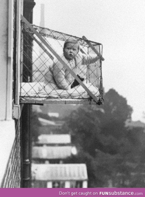 """""""Baby cages"""" used to ensure kids got enough sun when living in apartments. (1937"""
