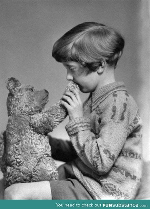 The real Winnie the Pooh and Christopher Robin. (1927)
